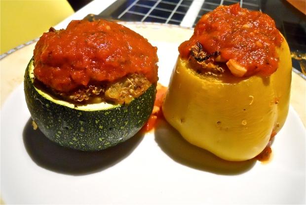Stuffed zucchini and pepper plate