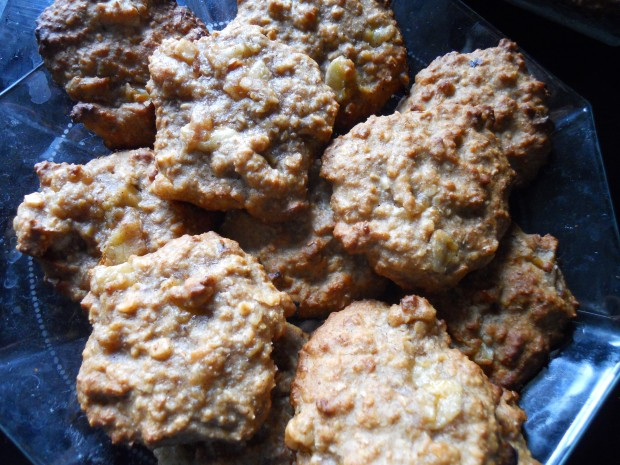 Banana-nut oatmeal cookies by day: healthy afternoon snack with coffee and fruit