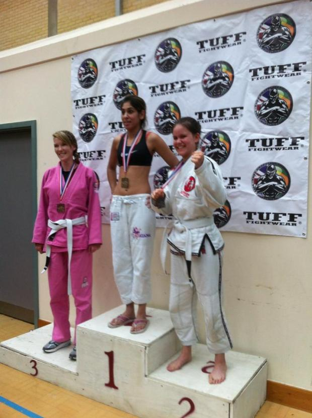 TUFF women's white belt featherweight podium