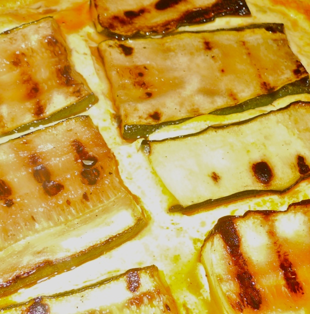 Zucchini omelette bake closeup