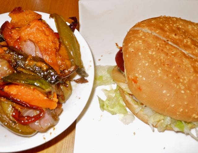 Evergreen Garden burger and roast veg