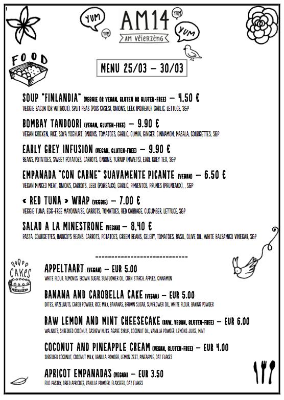 Am14 March menu