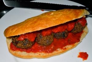 Meatball marinara sandwich