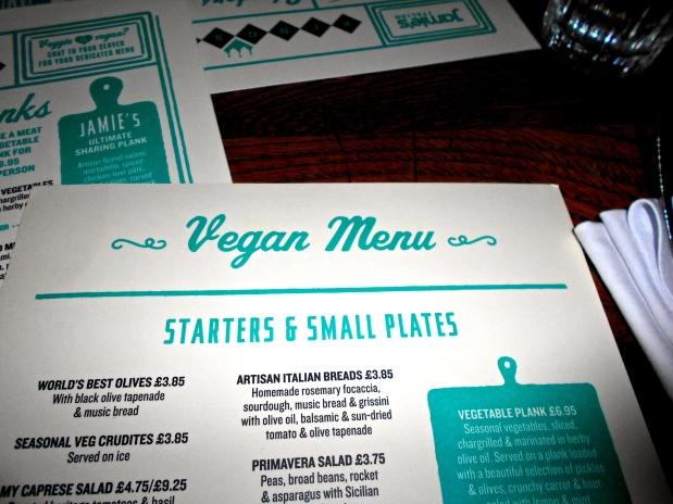 Jamie's Italian vegan menu