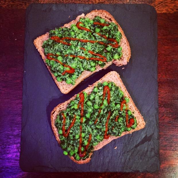 Greens and tahini toast