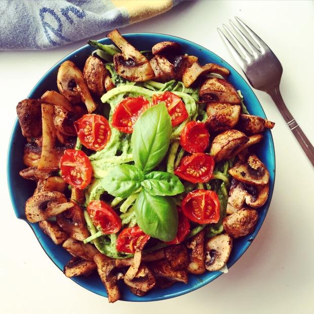 Basil zucchini pasta bowl