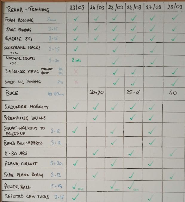 Rehab board week beginning 23/03